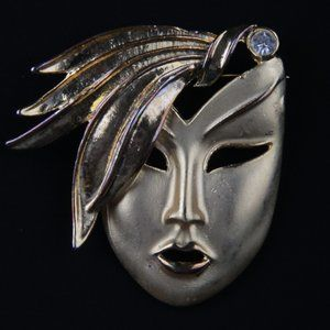 Vintage Mask Female Face With Rhinestone Brooch